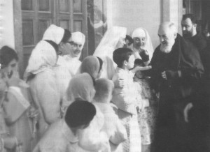 Padre Pio visiting patients in the Home for the Relief of Suffering