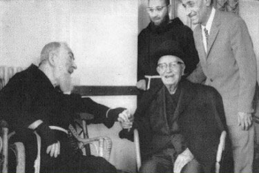 Padre Pio and his life-long friend, Dr. Andrea Cardone at the time of their last visit.