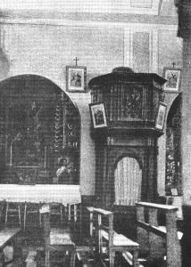 A photo of the confessional used by Padre Pio in the early days.