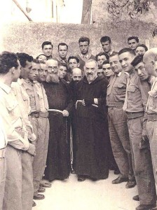 A group of soldiers visiting Padre Pio in San Giovanni Rotondo