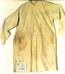 Padre Pio's shirt with stains of blood from the stigmata.